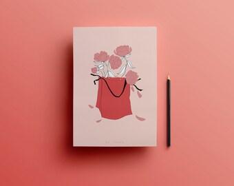 Illustration A4 - PRINT - pink peonies