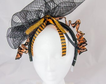 Halloween Headband.  Big black bow with orange ribbon