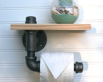 Single Roll Pipe Industrial Rustic Toilet Paper Holder with Wooden Shelf (Wall Mount) (Black Steel)