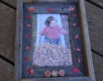 Fall Leaf Rustic Wood Frame 5x7