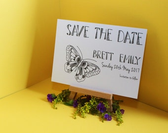 Personalised Wedding Butterfly Save the Date Invitations