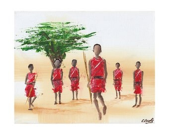 Maasai Tribe, Giclee Art Print, African Print, African Painting, Fine Art Print, Art and Collectibles, UNFRAMED