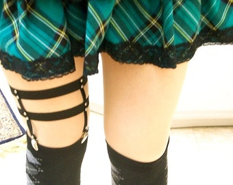 Leg garter harness gothic goth black with studs