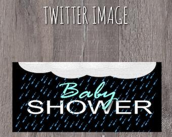 Baby Shower Ready to Aqua Rain Themed Twitter Photo