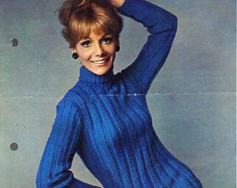 womens sweater knitting pattern pdf DK ladies long line ribbed polo neck jumper roll neck Vintage 60s 34-36 inch DK lt worsted 8ply download