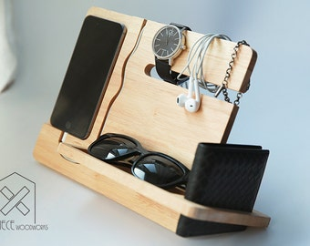 Universal iPhone 7 Plus, 6 Plus, 6s Plus Wooden Docking, Wood Stand, Tech Organizer, Gift for Dad, Gift for Him, Christmas Gift for Men