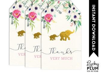 Elephant Favor Tag / Dumbo Favor Tag / Elephant Labels / Animal Favor Tag / Woodland Favor Tag / Flower Favor Tag / Garden Cupcake Topper