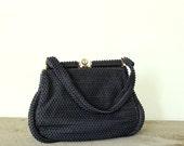 navy blue purse, corde bead purse . plastic beaded purse . blue 1950s handbag . vintage purse