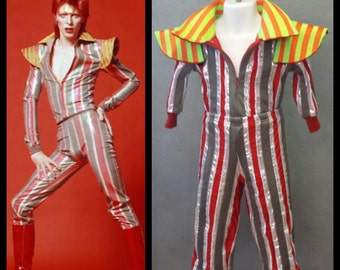 MADE TO ORDER David Bowie / Ziggy Stardust Striped 2 piece suit with high collar and shoulder 'wings' for Toddlers