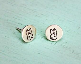 Ready to ship - BUNNY Earrings - rabbit earrings - tiny stud earrings - cute Christmas gifts for women