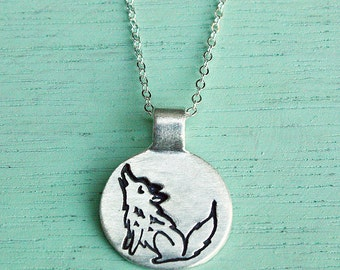 silver WOLF NECKLACE dainty necklace silver wolf jewelry, howling wolf jewelry lone wolf pendant cute sterling silver animal necklace tiny