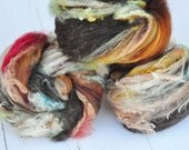 Textured, Carded Art Batts - Lichen Bark - 3.9 ounces - For Spinning or Felting