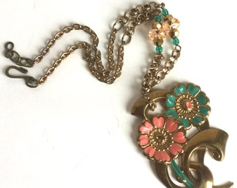 Handmade Brass Flower Necklace Large Floral Pendant - Coral, Seafoam Green Petals & Faceted Beads, Antique Brass Chain, Vintage Materials