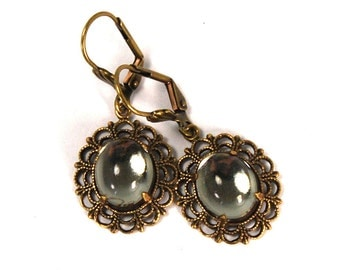 Vintage Inspired Earrings with Lace Filigree Framed Black Diamond Glass Cabochons in Antiqued Brass Simple Design Prong Set