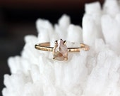 Rose Cut Pear Diamond Ring, Unique Engagement Ring, Natural Color Grey Diamond, Pear Cut 14k Yellow Gold, Ecofriendly Conflict Free