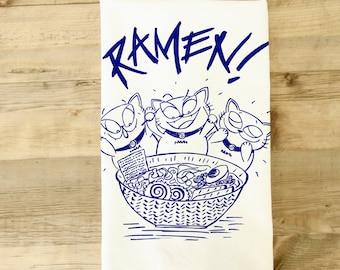 Ramen Tea Towel Ramen Dish Towel Japanese noodle soup cats Maneki neko manekineko kawaii otaku dish towel