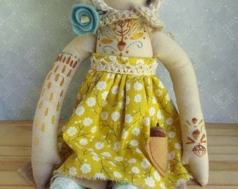OOAK Embroidered cloth woodland doll Autumn