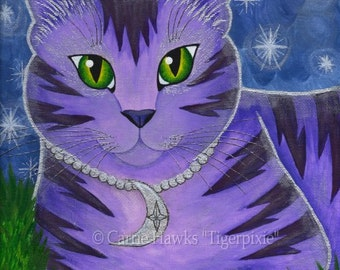 Moon Cat Art Cat Painting Stars Purple Cat Celestial Fantasy Cat Art Limited Edition Canvas Print 8x10 Art For Cat Lover