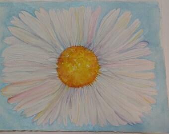 Daisy watercolor painting original 11 x 15 original watercolor daisy blue background, daisy flower painting art, original painting, gift