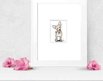 Original Art Chihuahua Dog Breed ACEO Drawing Ebsq
