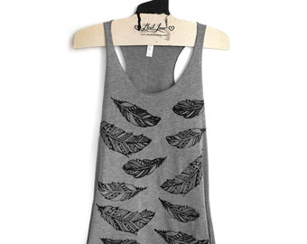 SALE S- Heather Gray Racerback Tank with Henna Feathers Screen Print