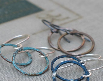 Small Patina Hoops- in blue, aqua or antiqued brass