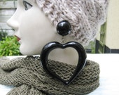 1980s 1990s Giant Black Plastic Heart Clip On Earrings, Black Heart Ear Clips