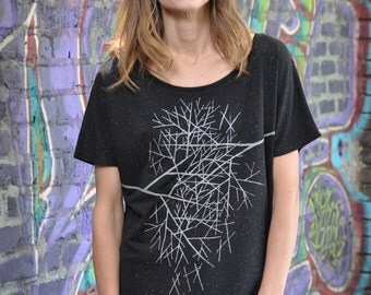 Branches Loose Tee, Graphic Shirt for Women, Hand Screen Printed, Confetti Fabric