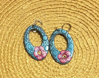 Handmade Polymer Clay Oval Ring Earrings by Claycass