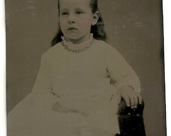 Beautiful little girl tinted tintype photo vintage jewelry bow white dress Victorian