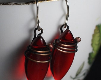 Earrings Red Copper Earrings Copper Jewelry