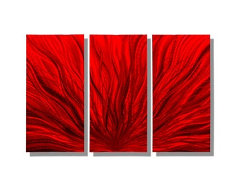 Large 3 Panel Decorative Metal Wall Art in Red, Contemporary Metal Wall Decor, Abstract Metal Wall Sculpture - Red Plumage 3p by Jon Allen