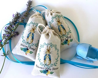 Peter Rabbit Baby Shower LAVENDER SACHET Party Favors | PERSONALIZED Thank You Gifts | Baby Shower | One Year Birthday | Custom | Set of 30