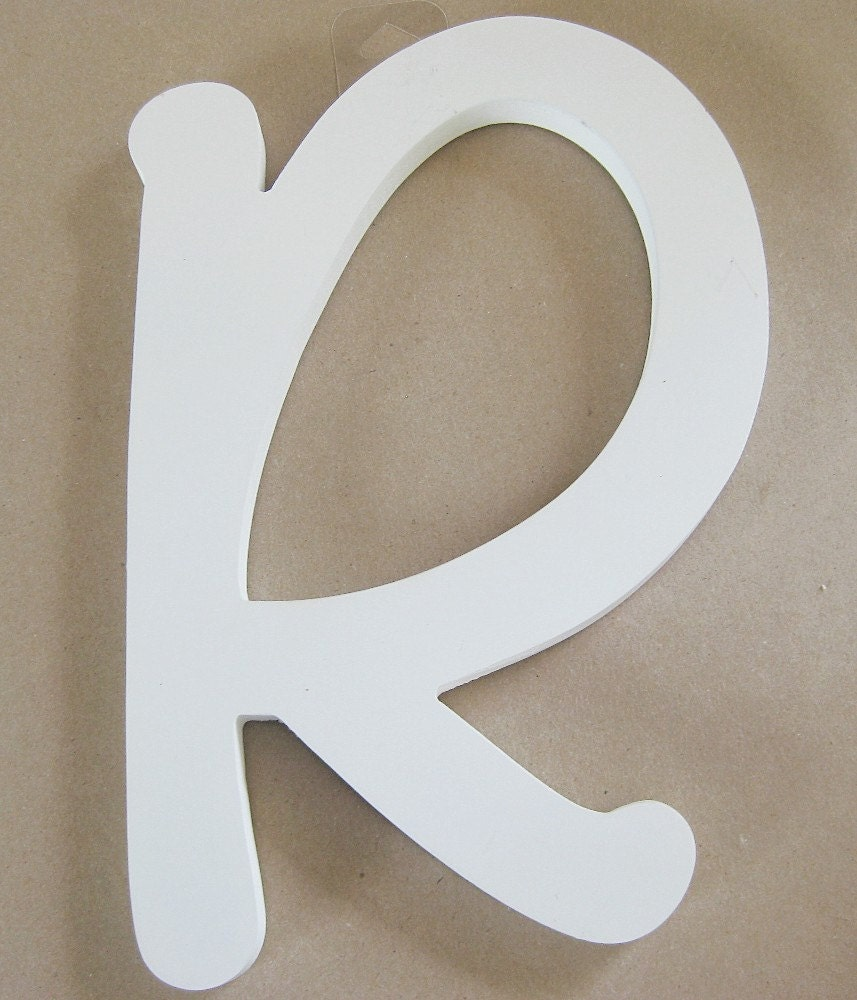 Single letter r white wood wall d cor mantel d cor - Wood letter wall decor ...
