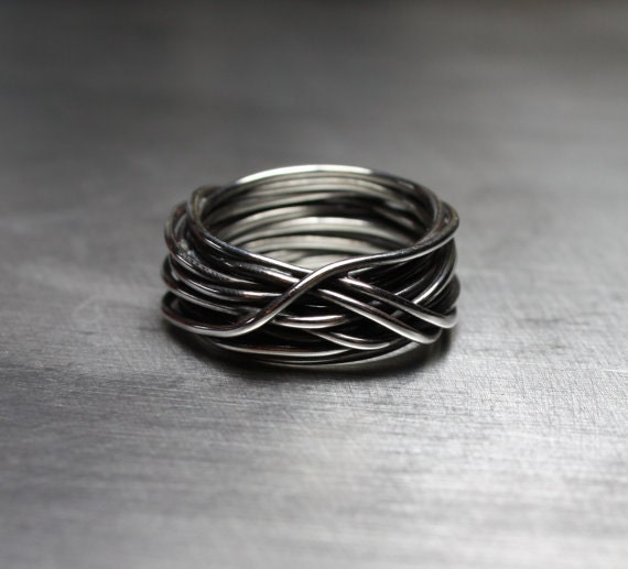 Wire Bands: Mens Ring Wedding Band Wire Wrapped Ring Rustic Jewelry