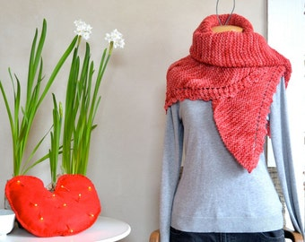 Hand Knit Shawl Warm Shades of Red Pink Triangle Scarf Soft Light Wool Hand Dyed