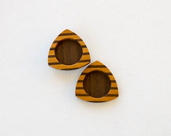 """Modern and natural marquetry hardwood bezels - Mahogany and Walnut - 1"""" - 25.5 mm - (E6-MW) - Set of 2"""