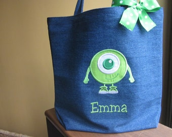 TOTE BAG Custom Designed and Personalized Big Kid Tote Mike Monsters Inc. Green Eyeball Monster