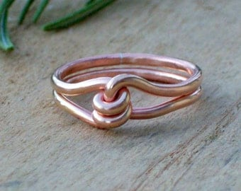 Couples Promise Rings - Knot Ring - Copper Ring - Unique Promise Ring - Wire Wrapped Rings - Mens Promise Rings - Love Knot Ring - Wire Ring