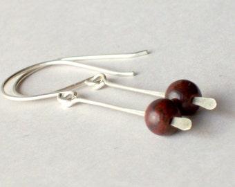 Brown Gemstone Earrings - Chakra Earrings - Jasper Earrings - Brown Earrings - Long Earrings - Long Silver Earrings - Long Dangle Earrings