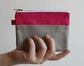 small zipper pouch - hot pink + smokey