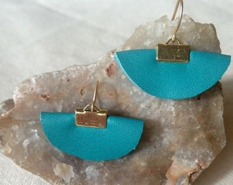 Turquoise leather, handcrafted semi circle drop earrings