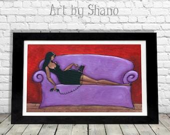 Curvy Woman Art Print, Bedroom Boudoir Home Decor, Vintage Rotary Phone, Boho Bohemian, French Cottage, Gypsy Shabby Chic Wall Hanging Shano