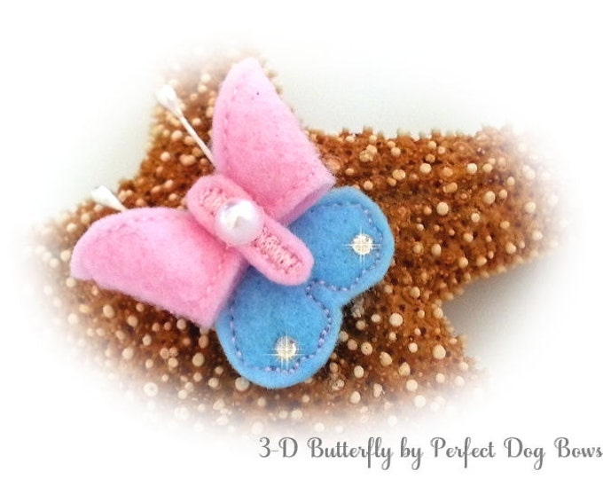 Butterfly Dog Bow, Felt Butterfly, Dog Bow Butterfly, Butterfly Puppy Bow, Pink Butterfly, Blue Butterfly