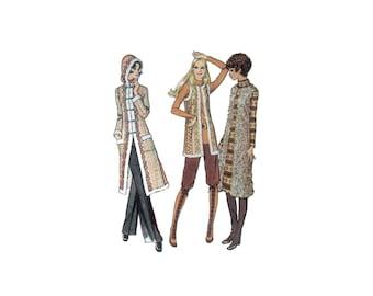 70s Furry Boho Coat Pattern vintage 35-26-37 Long Coat Hoodie reversible Long Vest Hippie Coat