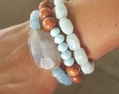Blue Agate and Stone Bracelet, Stretch Stackable Bracelet