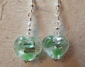 Green Silver Foil Glass Heart Earrings on Silver