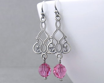Hot Pink Earrings Pink Crystal Earrings Crystal Drop Earrings Handmade Holiday Gift Crystal Jewelry Gift Under 50 - Moroccan Dreams