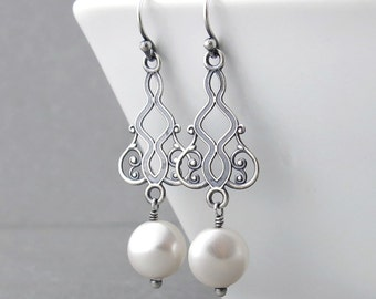 Unique Pearl Earrings Bridal Boho Earrings Pearl Bridal Earrings Pearl Dangle Earrings Rustic Wedding Gift for Her - Moroccan Dreams