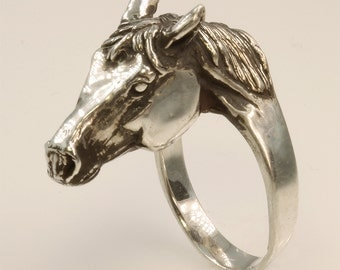 Sterling Silver Horse Head Ring #2 by Cavallo Fine Jewelry